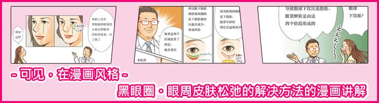 目の下のくまの原因と治療の方法 コミック版(中国語)